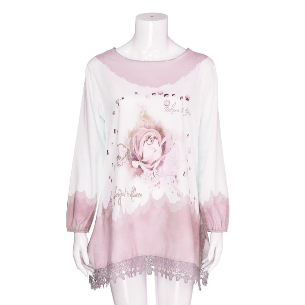 NREALY Womens Tops Plus Size Lace Print Long Sleeve Fashion Blouse Pullover Shirt