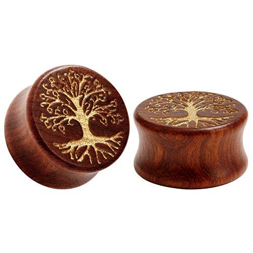 KUBOOZ Life Tree Pattern Classic Wood Ear Plugs Natural Red Sandalwood Hand Carved Ear Piercing 25mm