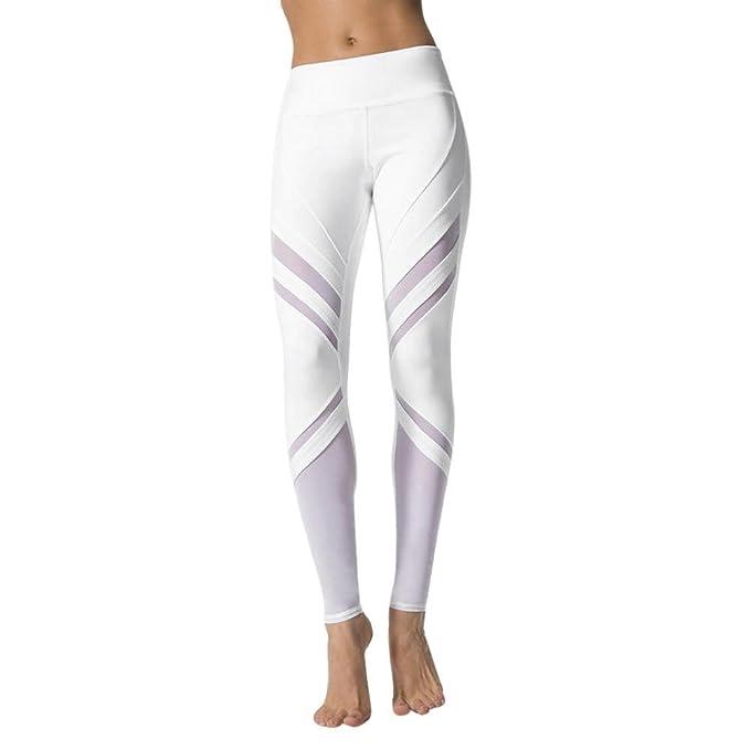 VJGOAL Mujeres Casual Moda Malla de Empalme Blanco Cintura Alta Deportes Gimnasio Pantalones de Yoga Corriendo Fitness Pantalones Pantalones de ...