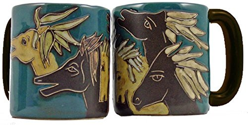 Mara Stoneware Collection - 16 Ounce Ceramic Coffee/Tea Cup Collectible Dinner Mugs - Mexican Pottery Horse Design