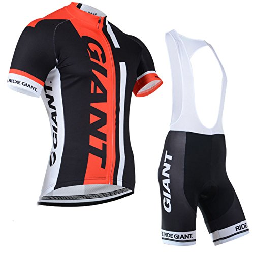 2014 Outdoor Sports Pro Team Men's Short Sleeve Giant Cycling Jersey and Bib Shorts Set Black (Jersey Cycling Set compare prices)
