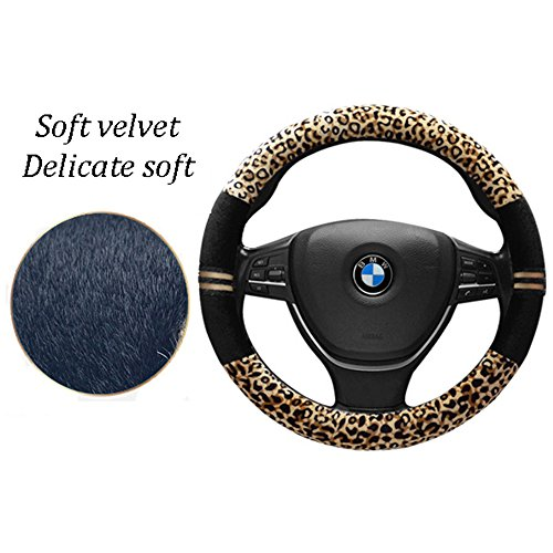 FULL WERK Luxury Leopard Print Fashionable Plush Car Steering Wheel Cover Universal Fit Beige+Black Keep Warm for Car SUV