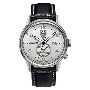 Junkers G 38 - Reloj de cuarzo para hombre, con correa de cuero, color negro