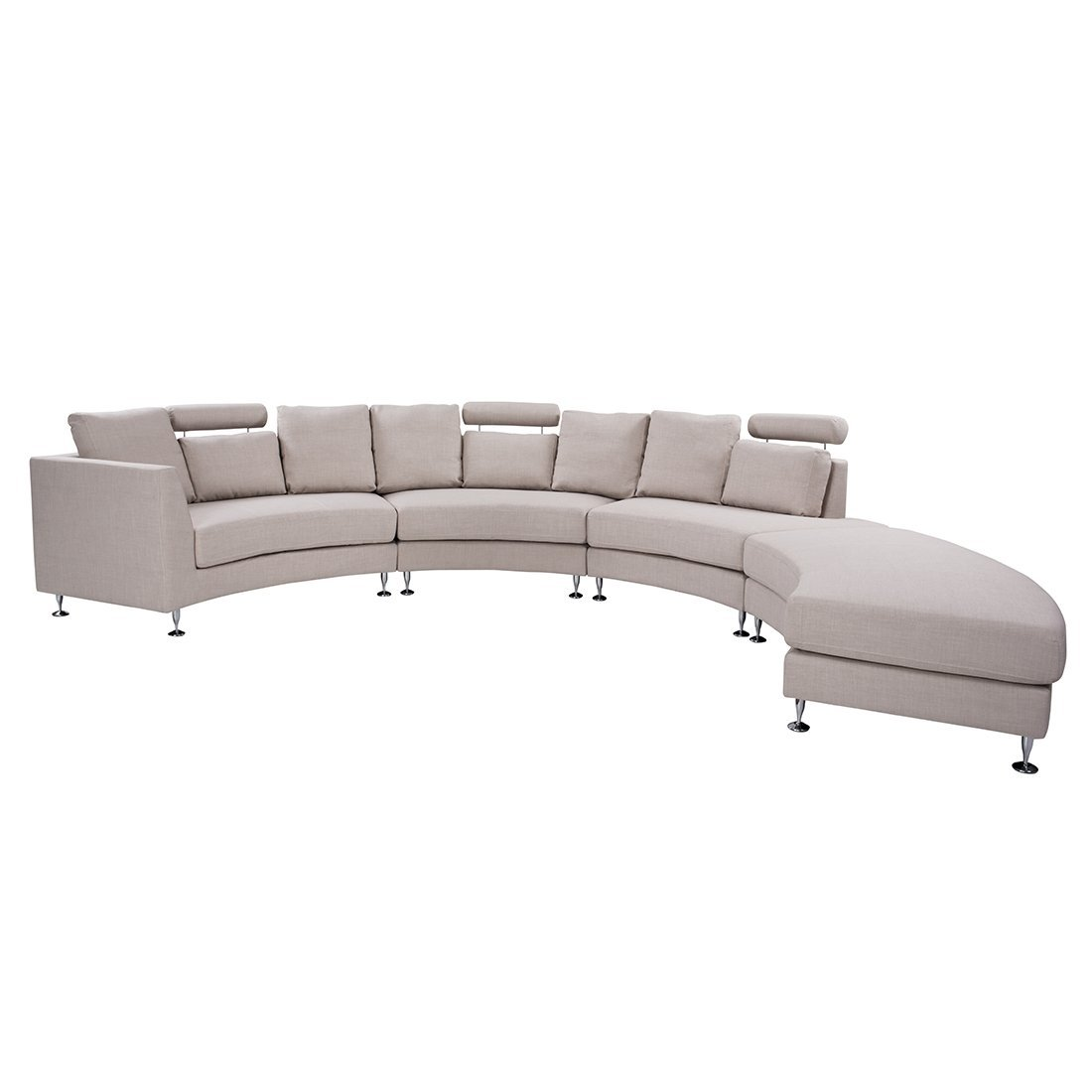 Modern Curved Sectional Sofa with Chaise and Headrests Beige ...