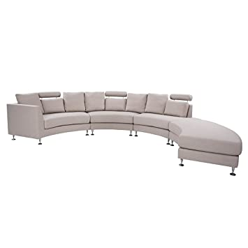Fabulous Modern Curved Sectional Sofa With Chaise And Headrests Beige Creativecarmelina Interior Chair Design Creativecarmelinacom