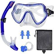 Snorkel Mask Set, Anti-Fog Freediving Mask & Dry Snorkel, Free Breathing Anti-Leak Dry Top Snorkel, Profes