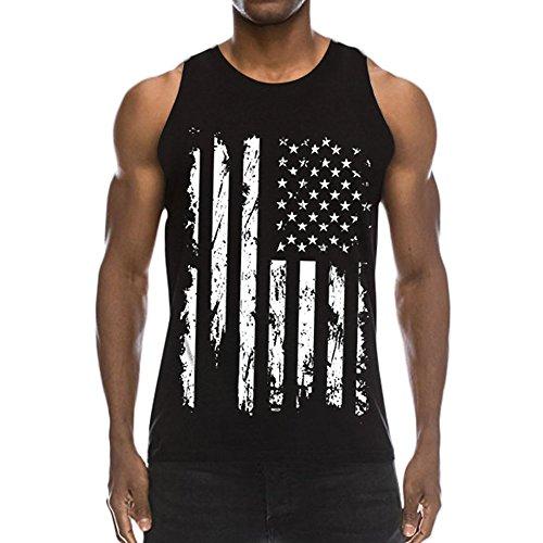 PIZOFF 3D America Flag Print Funny Pattern Realistic Underwaist Gym Tank Tops-AM003-01-L