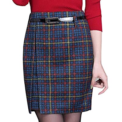 Wincolor Women's High Waisted Woolen Plaid Checked Midi Office Business Pencil Tartan Skirt Wear to Work
