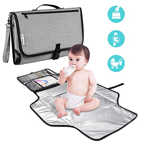 Bermunavy Baby Changing Pad,Portable Diaper Changing Pad Build-in Head Cushion & Zippered Pockets Waterproof Foldable Baby Travel Changing Mat Station for Toddlers Infants and Newborns