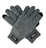 Bruceriver Women's Pure Wool Knitted Gloves with Thinsulate Lining and Rib Cuff Size L (Grey Touchscreen)