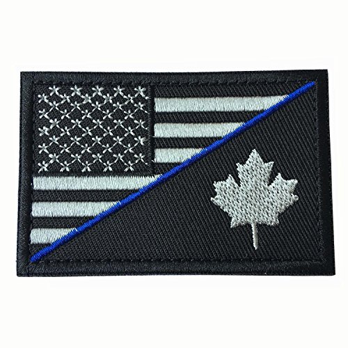 USA American Flag w/ Flag of Canada Thin Blue Line Military Tactical Morale Badge Hook & Loop Decorative Patch 3