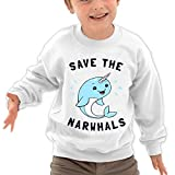 Puppylol Save The Narwhals Kids Classic Crew-neck Pullover Sweatshirt White