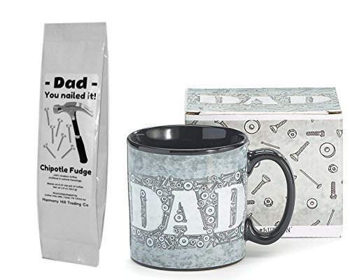 Dad Nuts and Bolts Coffee Mug Cup with Dad You Nailed It Hammer Nails Chipotle Fudge Coffee Father's Day Gift Set 2 Item (Fathers Day Coffee)