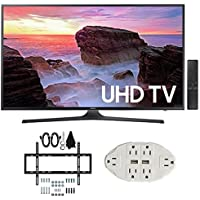Samsung UN43MU6300 43 4K Ultra HD Smart LED TV (2017 Model) w/ Wall Mount Bundle Includes, Slim Flat Wall Mount Ultimate Bundle Kit & Transformer Tap USB w/ 6-Outlet Wall Adapter and 2 Ports