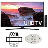 Samsung UN43MU6300 43' 4K Ultra HD Smart LED TV (2017 Model) w/Wall Mount Bundle Includes, Slim Flat Wall Mount Ultimate Bundle Kit & Transformer Tap USB w/6-Outlet Wall Adapter and 2 Ports