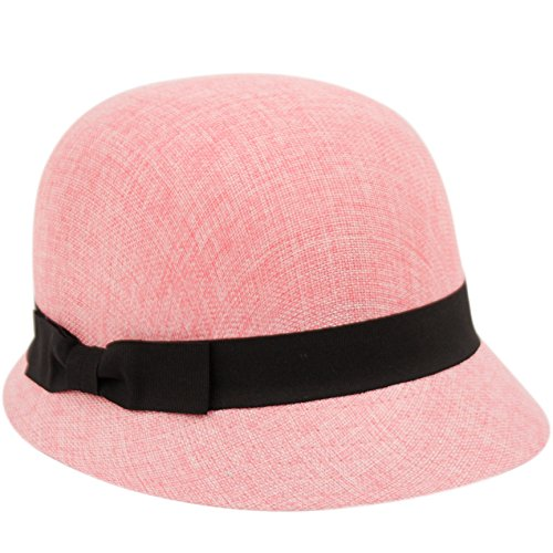 Women's Gatsby Linen Cloche Hat with Lace Band and Flower (CL2696PINK)