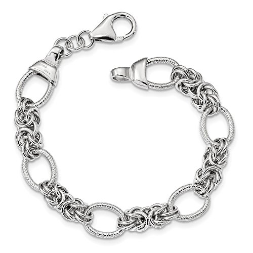 925 Sterling Silver Textured Link Bracelet 7.5 Inch Chain Fancy Fine Jewelry Gifts For Women For Her ()