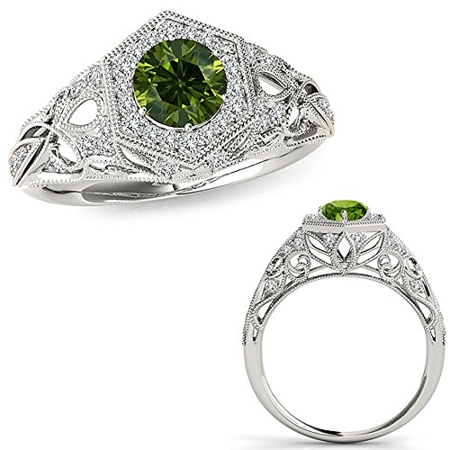 Green Diamond Solitaire (1.1 Carat Green Diamond Classy Fancy Design Halo Wedding Band Bridal Set Engagement Ring 14K White)