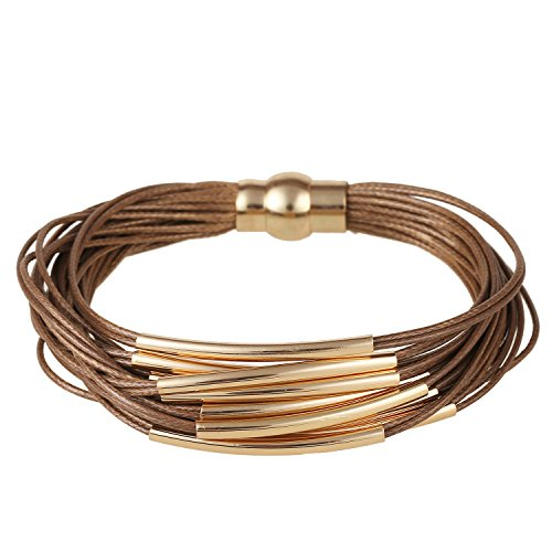 D EXCEED Multi Row Magnetic Clasp Bangle Bracelet for Women and Ladies Brown