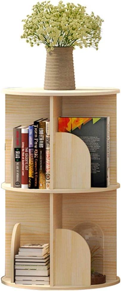 ソリッドウッド本棚360度回転本棚フロアクリエイティブ学生コーナー本棚ラック (Color : WOOD COLOR, Size : 39*128CM)