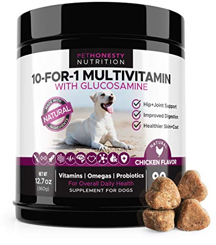 10 For 1 Dog Multivitamin with Glucosamine - Essential Dog Vitamins with Glucosamine Chondroitin, Probiotics and Omega Fish Oil for Dogs Overall Health - Glucosamine for Dogs Joint Supplement Heart