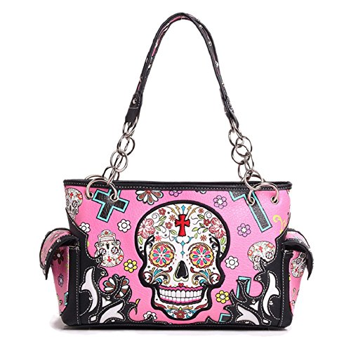 Sugar Skull Purse with Concealed Carry Pocket Day of The Dead Handbag, Fuschia]()