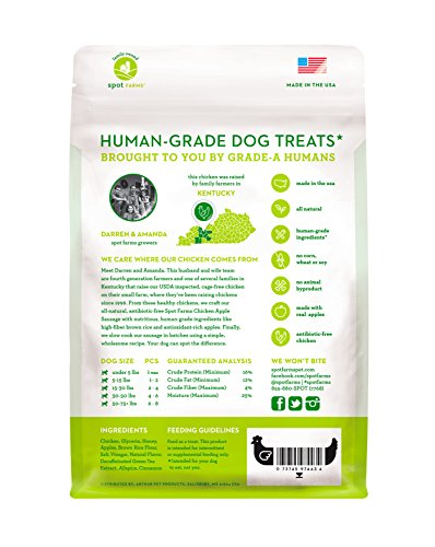 Spot Farms All Natural Human Grade Dog Treats, Chicken Apple Sausage, 12.5 Ounce by Spot Farms (Image #1)