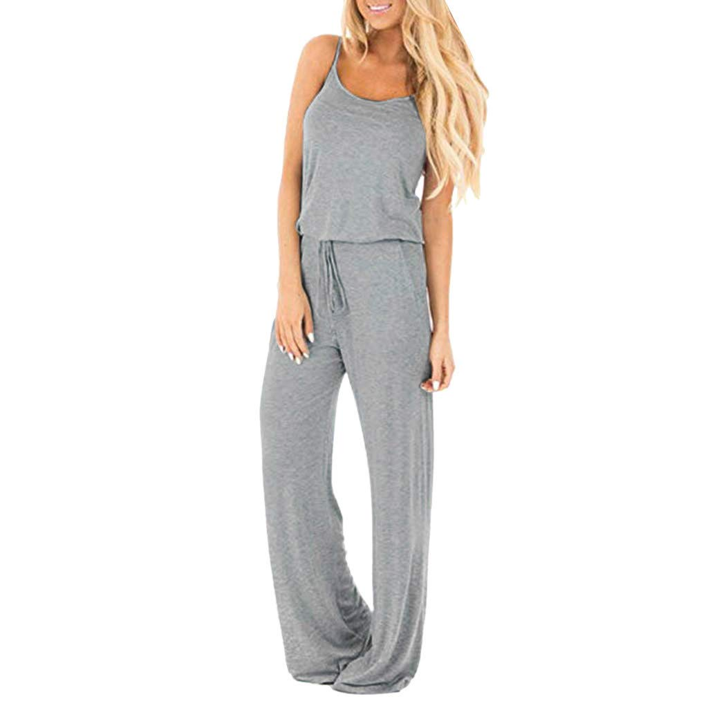 iCJJL Womens Casual Loose Camisole Jumpsuits with Pockets Deep V Neck Spaghetti Strap Drawstring Wide Leg Long Rompers