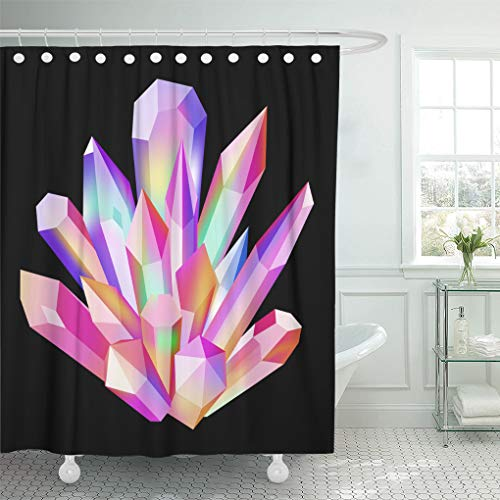 (Emvency Shower Curtain Colorful Fantasy Shining Bright Colored Crystal Magic Gemstone Opal Pink Jewelry Shower Curtains Sets with Hooks 72 x 78 Inches Waterproof Polyester Fabric )