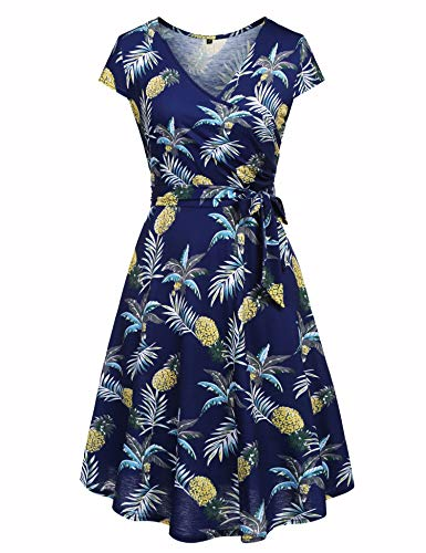 Ivicoer Women's Summer V-Neck Cap Half Sleeve Floral Casual Work Party Swing Dress Blue L with - V-neck Cotton Belt