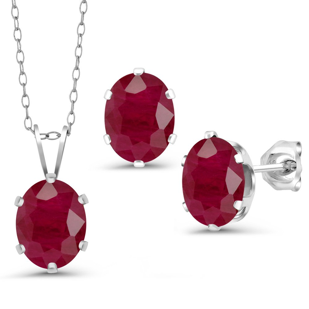 4.80 Ct Oval Red Ruby 925 Sterling Silver Pendant Earrings Set With Chain