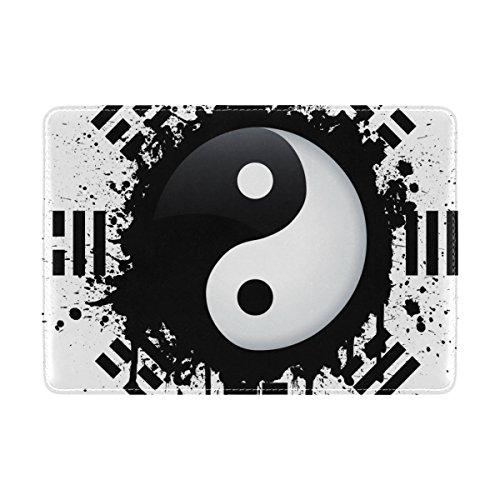 Coosun schwarz und weiß Yin Yang Leder Passhülle Cover für Travel One Pocket
