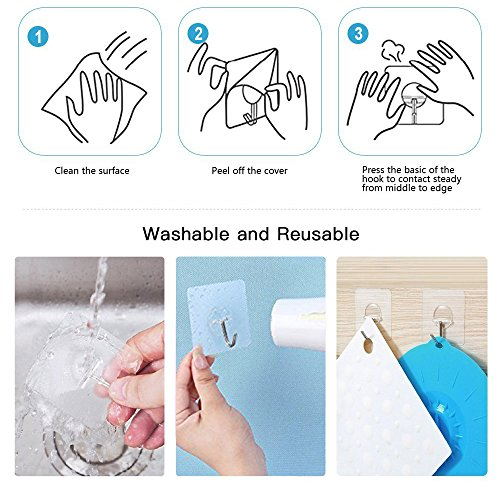 MORDUEDDE Adhesive Wall Sticky Hooks Heavy Duty Hooks Hanger Without Nails for Keys Towels in Bathroom Kitchen 22lb/10kg,10pcs by MORDUEDDE (Image #4)