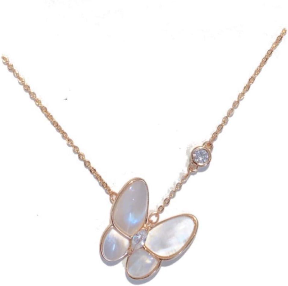 NOBRAND 18 Quilates Collar de Concha Blanca Mariposa de Oro for Las Mujeres de la Corto nicho de diseño sensación Delicada luz fraile Cadena de clavícula Distinguido