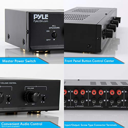 Pyle 4 Channel Speaker Selector Switch Multi Zone A B Speaker Distribution Controller Box