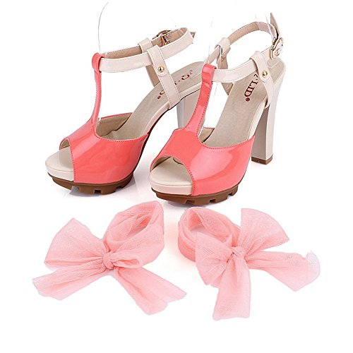 VogueZone009 Womens Open Peep Toe High Heel Chunky Heels Platform PU Patent Leather Assorted Colors Sandals with Buckle, Pink, 4.5 UK