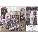 Browning Buckmark Plaid Pink & Gray 7 Piece Baby Crib & Window Treatment Set