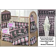 Browning Buckmark Plaid Pink & Gray 7 Piece Baby Crib & Window Treatment Set