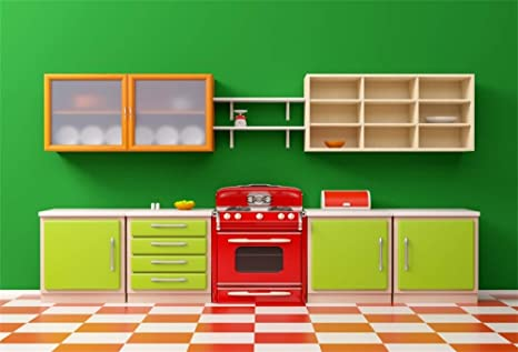 Aofoto 9x6ft Modern Living Room Kitchen Backdrop For Youtube Videos Green Wall Red Washing Machine Green Cabinet Furnitures Smooth Floor Background