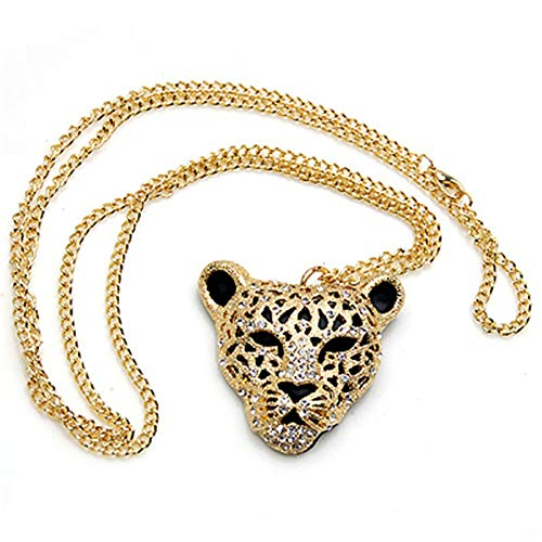 Jin Sheng Gold Plated and Silver Plated Punk Diamond-Encrusted Sexy Big Leopard Head Charm Women Girls Necklace,30