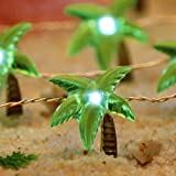 Impress Life Tropical Beach Themed String Lights, Coconut Palm Tree Twinkle Lighting Silver Wire 10ft 40 LED with Remote for Indoor Bedroom, Dorm, Wreathe, Summer, Wedding Party Home DIY Decorations
