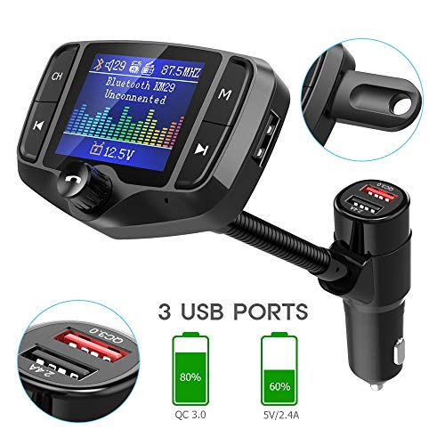 """Nulaxy Bluetooth FM Transmitter for Car, 1.8"""" Color Screen Wireless Radio Adapter Handsfree Car Kit with QC3.0 & 5V/2.4A Charging, Support USB Drive, microSD, Aux, EQ, Car Battery Reading- KM29 Black"""