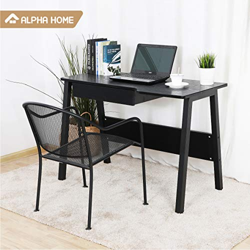 (ALPHA HOME Computer Desk with Drawer, Large Office Desk Computer Table Study Writing Desk for Home Office - Black)