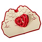 Greeting Cards Children Books 3D Pop Up Cards,Valentine Lover Happy Birthday Anniversary Greeting Cards (Red 01)