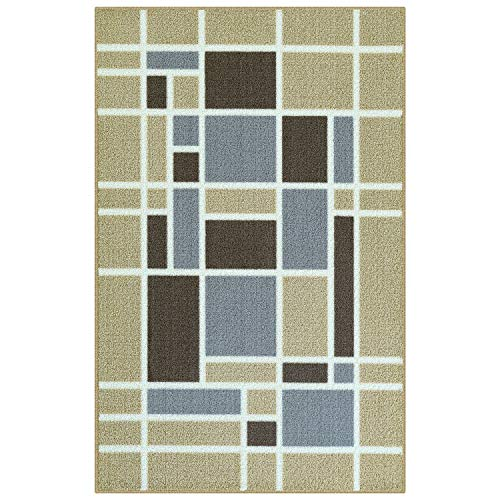 Maples Rugs Accent Rug - Emery 2'6 x 3'10 Non Skid Hallway Entry Rugs Accents [Made in USA] for Kitchen and Entryway, Neutral