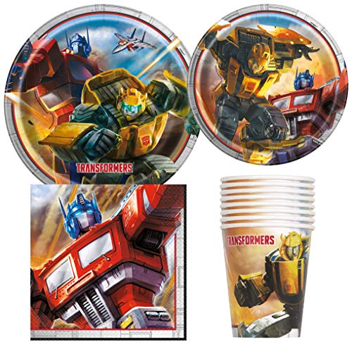 Unique Industries Transformers Bumblebee Birthday Party Supplies Pack for 8 Guests Including Lunch Plates, Dessert Plates, Lunch Napkins, Cups ()