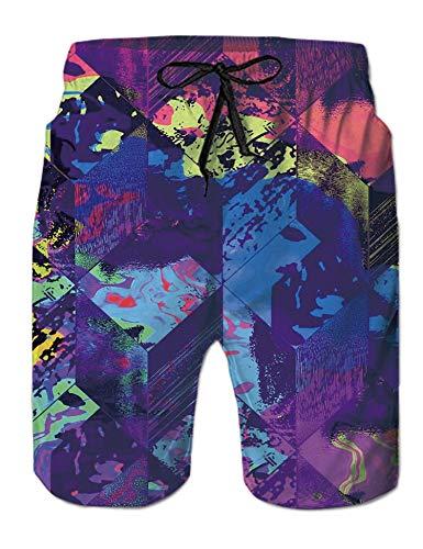 Funny Purple Graffiti Swim Trunks for Men Hawaiian 3D Printed Designer Bathing Suit Swimwear Colorful Swimsuit Male Beach Swimming Boardshorts with Mesh Lining Side Pockets Small