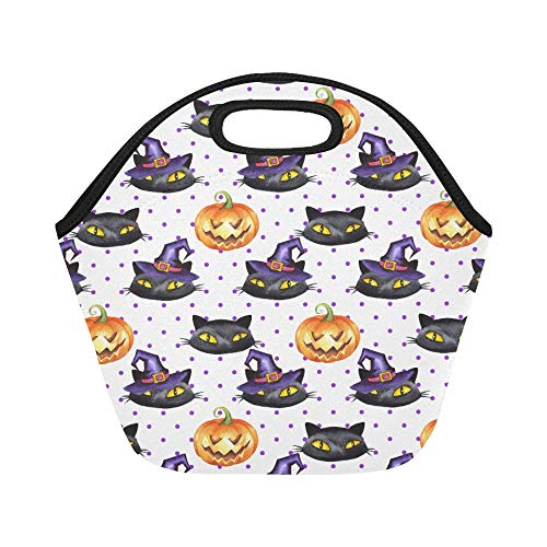 Insulated Neoprene Lunch Bag Happy Halloween Black Cat Witches Hat Pumpkins Polka Dot Pattern Large Size Reusable Thermal Thick Lunch Tote Bags For Lunch Boxes For Outdoors,work, Office, School -
