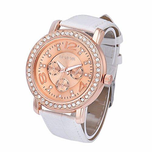 Women's Watch ,Goddessvan Geneva Luxury Rhinestone Crystal Analog Quartz Wrist Watch (White ) (Mini 23 Watch Ladies)