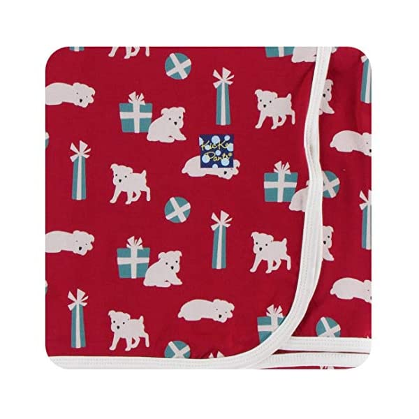KicKee Pants Print Swaddling Blanket (One Size, Crimson Puppies and Presents)